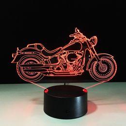 Wholesale Diy Led Light Box - 2018 Super Cool Motorbike 3D Optical Illusion Lamp Night Light DC 5V USB AA Battery Wholesale Dropshipping Free Shipping Retail Box
