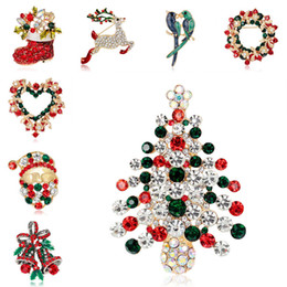 Wholesale Jingle Bell Brooch Pin - 20 type Crystal Christmas Santa Boot Snowman Jingle Bells Trees Brooches Pins Corsage Scarf Clips Gold silver Xmas Jewelry Christmas 170671