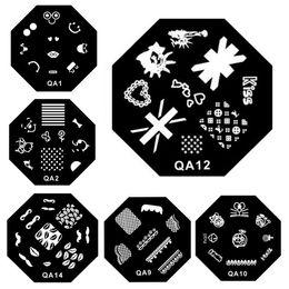 2019 diseños de sellos de metal Serie QA 60 diseños Patrón DIY Nail Art Imagen Placas de estampado Sello Plantilla de manicura