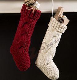 Wholesale Acrylic Christmas Tree Ornaments - Christmas Stocking Long Crochet Knitted Xmas Stocking Xmas Tree Decorations Outdoor Christmas Decorations Festival Party Ornament 644