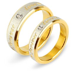 "Wholesale Word Love Rings - Wholesale-Titanium Steel Yellow Couples Rings Set With ""Love "" Word for Men Women Wedding Bands Rings , Lovers, IC09"