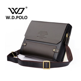 Wholesale Blue Contracts - Wholesale-2016 W.D POLO Men Leather shoulder bag gentle men business handbags contract bags men messenger bag classical design M1640