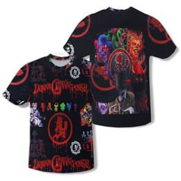Wholesale Dress Short Dance - Summer Classic Insane Clown Posse 3D T-shirt Men's Tops Tee Youth Boys Hip Hop Dance Evening Party Dress Shirt Dark Brown Multi Short Sleeve