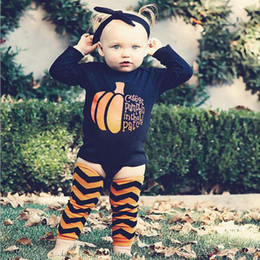 Wholesale Baby Tutu Socks - Halloween Pumpkin Baby Rompers 3 pieces with Hair Band Cotton Long Sleeve Tops Set Tutu Outfits Newborn Costume Headband Romper Socks DHT147