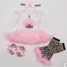 Wholesale Lace Legging Set Toddler - baby girl infant toddler 4piece set outfits Zebra Cupcake Minnie romper tutu skirt + chiffon leg warmer + Lace headband + shoes Summer 4set
