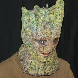 Wholesale Galaxy Costume - Wholesale-Guardians of the Galaxy Groot latex mask adult head halloween costume cosplay scary mask prop Gift High Quality