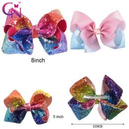 Wholesale Wholesale Sequin - 5 Inch 8 inch Rainbow Sequin Hair Bow Bling bows Hair Clip Baby Girl Rainbow Bestie Jojo Bows