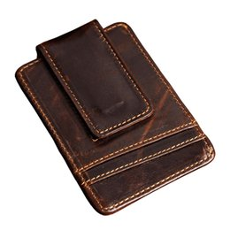 Wholesale Leather Front Pocket Wallet - Men money clips vintage genuine leather front pocket clamp for money holder magnet magic money clip wallet with card ID Case
