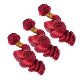 Brasileira Onda Solta Do Cabelo Bundles 3 Peça # Vermelho Remy virgem Cabelo Humano Tecelagem 10-30 polegada Pacotes Vermelhos 9A Grau Trama Dupla de