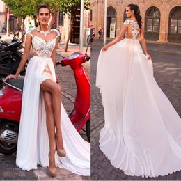 Wholesale Sleeved Wedding Dress Red - Romantic Sheer Jewel Neck A Line Wedding Dresses High Low 2017 Cap Sleeved Bridal Gowns with Detachable Chiffon Long Train