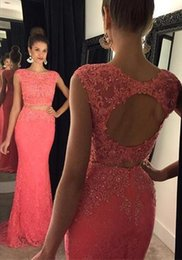 Wholesale Trumpet Key Holes - Two Pieces 2016 Long Prom Dresses Mermaid Lace Applique Beads Jewel Neck Cap Sleeves Key Hole Back Sweep Train 2017 Evening Party Gowns