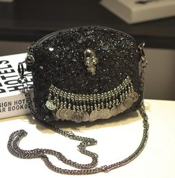 Wholesale Skull Hand Pendant - factory brand handbag cool style skull woman chain bag personality sequins Leather Shoulder Bag Fashion Pendant Beads woman hand bag