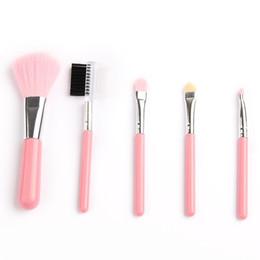 Wholesale Mini 5pcs Makeup Brush Set - Fashion Mini 5Pcs Pink Makeup Brushes Cosmetics Tools Eyeshadow Eye & Face Lipstick Makeup Brush Set Blush Soft Brushes Kit New