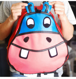 Wholesale Super Cute Korean - 2016 Fashion Hip-hop Hippo Backpack Cute Campus Lovely personality hey super of hippo backpack backpack bag leisure fashion students