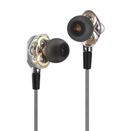 Wholesale Black Apple Computer - 3.5mm HiFi Headphones In-ear Earphones Dual Dynamic Driver Design In-line Control Headsets for iPhone Samsung LG Smart Phones Computers