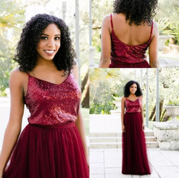 Wholesale Sparkle Tulle Prom - 2018 Burgundy Sparkle Sequined Bridesmaid Dresses A Line Tulle Sequins Top Floor Length Maid Of Honor Dresses Vintage Prom Gowns For Wedding