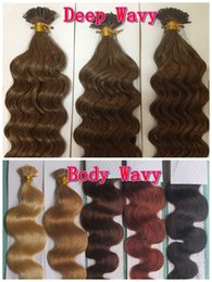 Wholesale Brown Mixing Tip - AAAAA Deep Wavy 1g*200s 10-28'' Stick I Tip Prebonded Black Brown Blonde Mixed Ombre Color 100% Indian Remy Human Hair Extensions