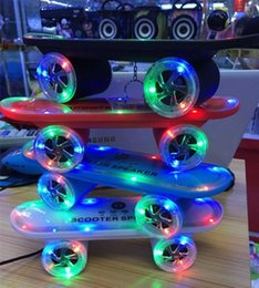 Wholesale Kick Scooter Wholesale - 2016 LED Flash Kick scooters Mini bluetooth speakers wireless Subwoofer Portable Skateboard speaker for Table pc phone Gift