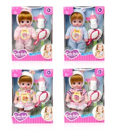 Wholesale Baby Girl Talking - 3D eyes 4 colors Pacifiers talking baby doll will cry and blink sing snore sisters doll 5pcs free shipping