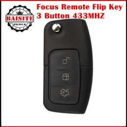 Wholesale Transmitter Chip - 2017 New Ford Focus Flip Remote Key FOB TRANSMITTERS 3 Button For Ford Mondeo 433MHZ FO21+4D60 CHIP focus remote key case 5pcs lot