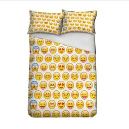 Wholesale Children Hand Pillow - Emoji Bedding Set Cute Expression Duvet Cover Set Printed Pillow Cases Bed Cover Sheet For Kids 3pcs set 10Sets OOA2703