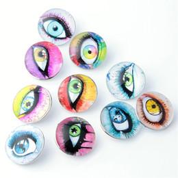 Wholesale Big Eye Ring - Mix Snap Button 18MM Big Eyes Glass Rhinestone Jewelry Charms Random 10PC