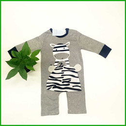 Wholesale Cow Rompers - long sleeve cow baby boys rompers kids newborn bodysuits grey solid children sleepwear baby girls jumpsuits outfits infant toddler new style