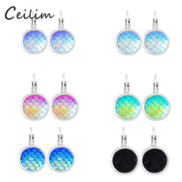 Wholesale Mermaid Stud Earrings - New fashion korean beauty fish scales stud earrings for women colorful resin charms mermaid scales earrings fit daily holiday gifts 2017