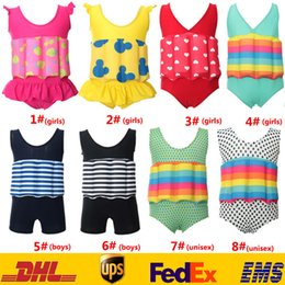 Wholesale Baby Boy One Piece Swimwear - New Baby Boys Girls Bath Float One Piece Swimsuit Bikinis Kids Child Toddler Stripe Dot Swimwear Costume Removable SPA Beach Swimsuit LN-S12
