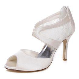 Wholesale Satin Beige Heels - 2017 10 cm Beige Color Elegant Nice Lace Sandal Style Bridal Shoes Wedding Dress Shoes Handmade Shoes Evening Shoes Prom Party Shoes Size 42