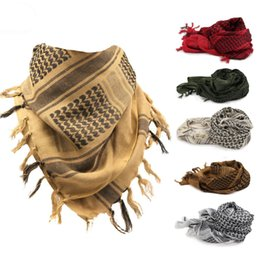 Wholesale men shemagh - Arabic Outdoor Hunting Scarf Muffler Desert Tactical Cambat Headwear 100% Cotton Magic Scarves Wraps Shemagh for Men or Women