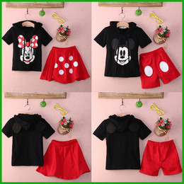 Wholesale Dress Girls Retro - fashion style hot selling Baby Boy Girls Kids Summer Mickey Mouse Clothes T-shirt dot red RETRO TOP Dress Pants Outfit baby girl clothing