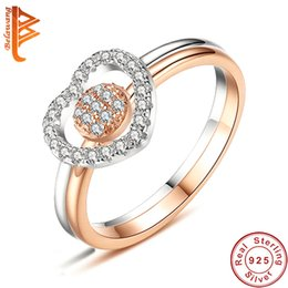 Wholesale Double Rose Rings - BELAWANG Rose Gold & Silver Engagement Ring Sets With Top Grade AAA CZ Double Heart Wedding Rings For Women 925 Sterling Silver Jewelry
