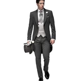 Wholesale Elegant Black Suits For Men - 2017 Tailored Elegant Bridegrom Gray morning suit Wedding tuxedo for men groomwear 5 pieces suits set (jacket+pants+vest)