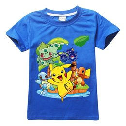 Wholesale Character T Shirts For Girl - 2016 Pikachu Cotton Shirts Short Sleeve Child T-Shirt Fashion Round Neck Shirts for boys and girls Free Shipping A-0387