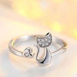 Wholesale Open Ring Cat - New arrivel Cut cat rhinestone opening rings fashion girls women rings finger rings