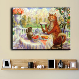 Wholesale Big Cat Paintings - ZZ2080 Vladimir Rumyantsev big table eat cat world oil painting wall Art Picture Paint on Canvas Prints wall painting no framed