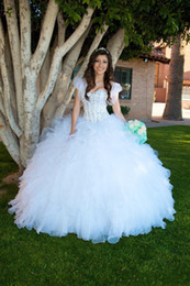Wholesale Cascade Jackets - 2017 New White Princess Ball Gown Quinceanera Dresses Sweetheart Beaded Crystals Tiers Ruffles Skirt Long Sweet 16 Prom Dresses with Jacket
