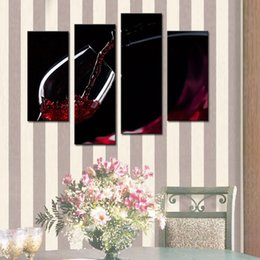 Wholesale Canvas Wine Decor - 4 Picture Combination Wall Art Painting A Cup Of Wine Pictures Prints On Canvas Picture For Home Modern Decor Or As Gift
