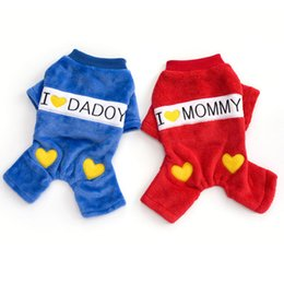 Wholesale I Love Daddy Unisex - 2 Colors Autumn Winter Puppy Dog Cotton Jumpsuit I LOVE DADDY  MOMMY Pattern Four Legs Pet Coat 50pcs lot Free Shipping by DHL