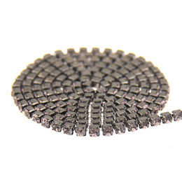 Wholesale Diy Sew Stones - Black Diamond Glass Rhinestones Black Base Chains Copper Cup Chain Strass Pointed Back Non Hotfix Sew On Crystal And Stones DIY