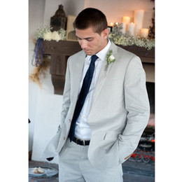 Wholesale Casual Wool Blazers For Men - Custom Made Hot Sale Grey Men Suit Wedding Suits for Men Casual Beach Blazer Slim Fit 2 Pieces Men Suits (Jacket+Pants) L636