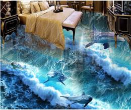 dipingere piastrelle da bagno Sconti Carta da parati autoadesiva del bagno della pittura per pavimento della piastrella per pavimento del delfino dell'Oceano del pavimento del PVC