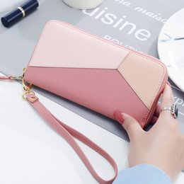 Wholesale women purse wrist - New Fashion Women Wallets PU Leather Zipper Wallet Women's Long Design Purse Clutch Wrist Brand Mobile Bag
