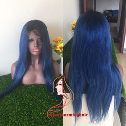 Wholesale Wig Dark Blue Medium - ombre 1b blue Dark roots silky straight virgin human hair full lace and Lace Front Wig with Baby Hair