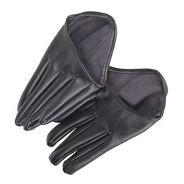 Wholesale Tights For Men Fashion - Wholesale- New Hot Woman Tight Half Palm Gloves Imitation Leather Five Finger Soft PU Leather Gloves for Women Black C#RT