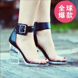 Wholesale Suede Jeffrey Campbell - Jeffrey Campbell Soiree Clear Heels Sandals Black High Heeled 11CM Ankle Strap PVC &Genuine Leather Women Sandals Shoes