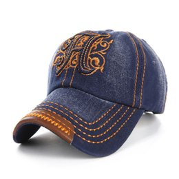 Wholesale Hats H - 2016 New H Letter Note Embroidered Denim Hats for Men or Women Outdoor Sport Baseball Cap Z-2663