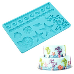 Wholesale Candy Decorated Cakes - Silicone Seashell Sea Life Fondant and Gum Paste Candy Cake Baking Mold For Cake Decorating Sealife Style Starfish