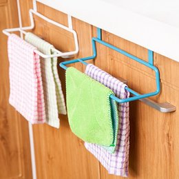 Wholesale Towel Rack Pole - Iron kitchen cabinet door towel hook multi-purpose kitchen cabinet door double pole seamless dishclout hand towel rack Towel Racks